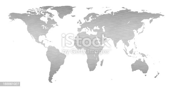 istock Simple gray world map on a white background 155561027