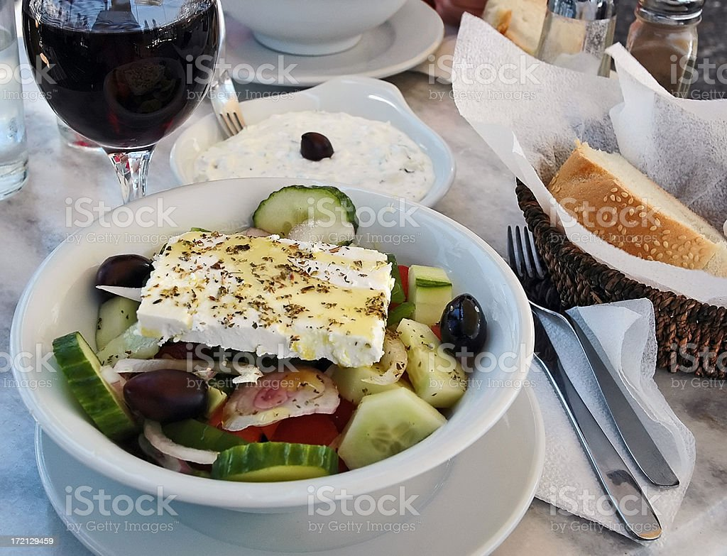 Simple Greek Salad with Yogurt and Red Wine royalty-free stock photo