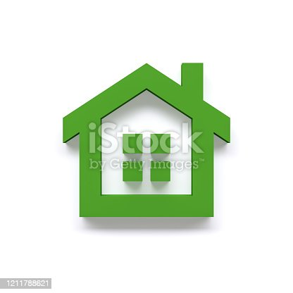 845555910 istock photo simple green house - icon - 3d rendering 1211788621