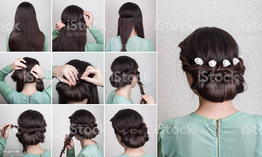 Simple hairdo self tutorial stock photo
