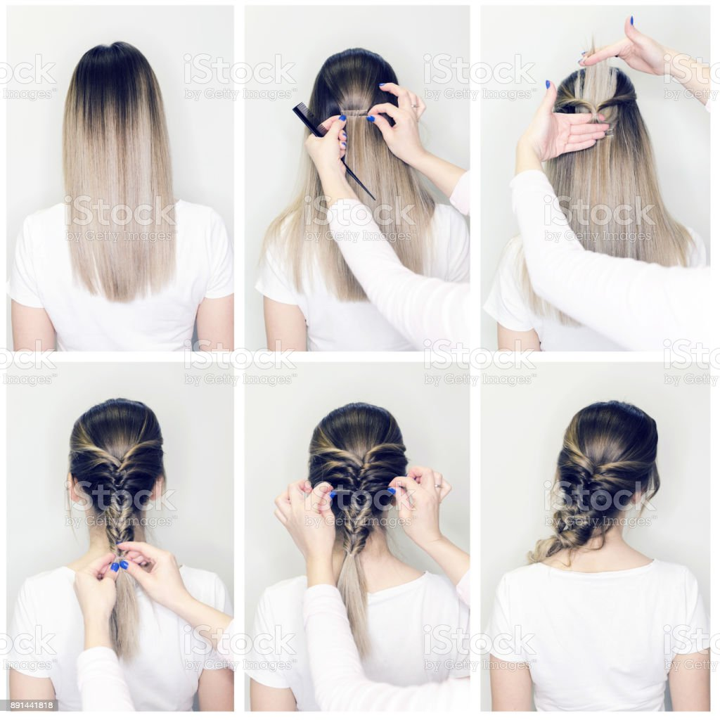 Simple hairstyle volume plait on straight or curly hair stock photo