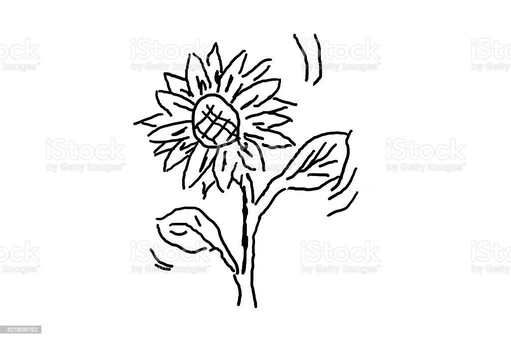 Photo Libre De Droit De Simple Main Dessiner Une Fleur Banque D
