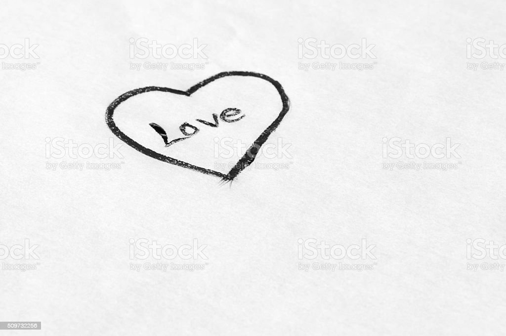 Line Drawing Heart Shape : Simple heart drawn on a white paper stock photo more pictures of