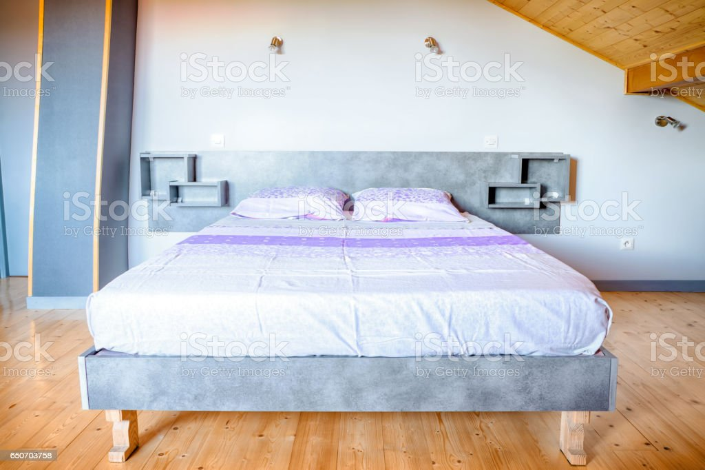 Simple Homemade Bed Base Indoor View With Two Person Mattress And