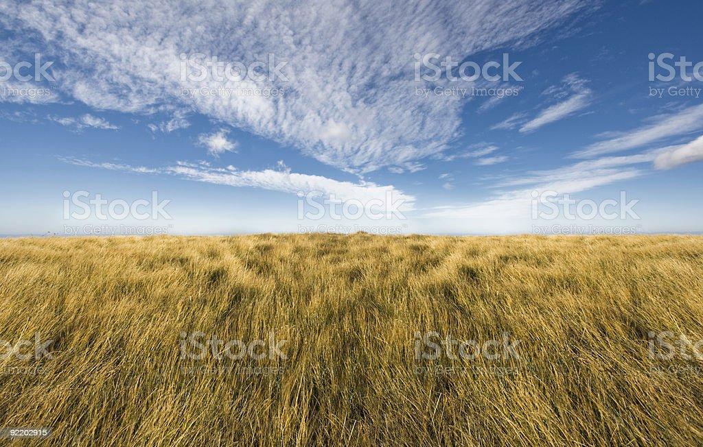 Simple horizon on a blue sky stock photo