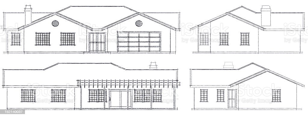 simple house elevations royalty-free stock photo