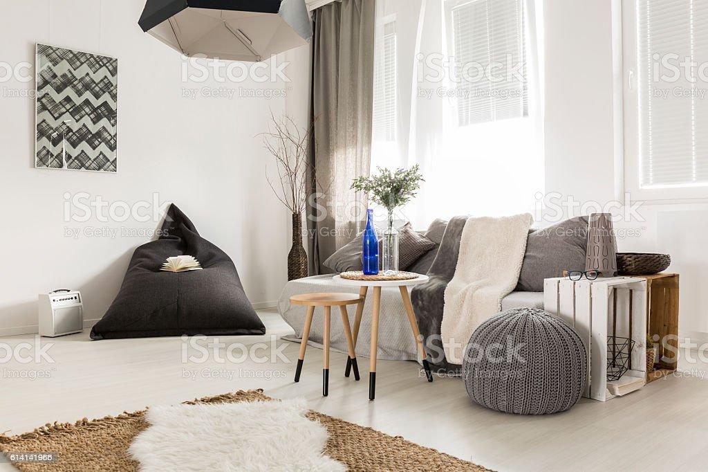 Simple interior in scandi style stock photo