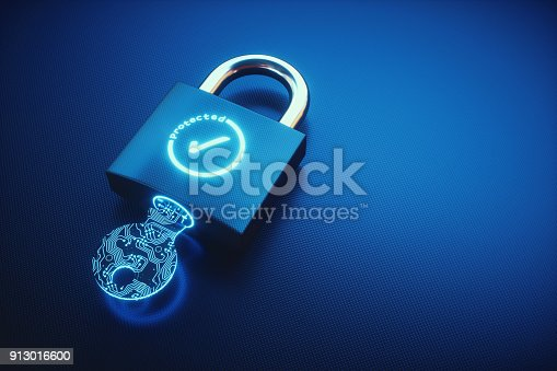 Close up on a padlock lying on a blue carbon fibre surface. The padlock is locked, with a digital key inserted and displays a glowing OK symbol.