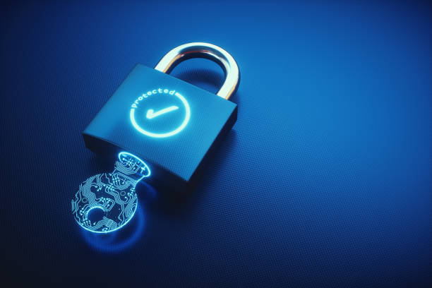 Simple key and padlock with OK Symbol on an empty surface stock photo