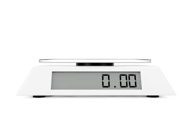 simple kitchen digital scale. 3d rendering - balance graphics foto e immagini stock