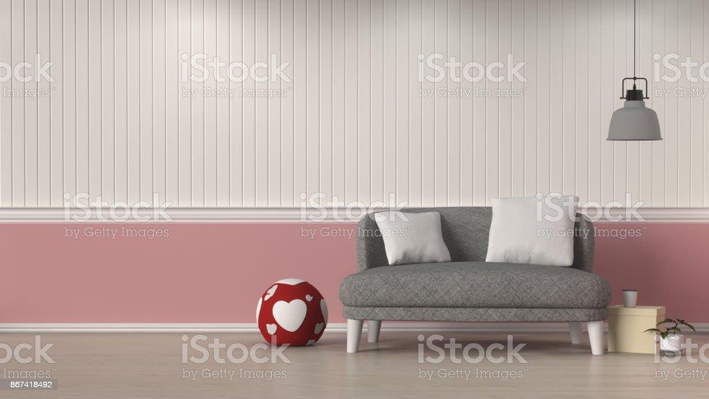Einfache Wohnzimmer Grau Sofa Vor Weissen Und Rosafarbenen Wand Innenarchitektur 3d Illustration Valentine Herz Kissen Dekoration Zimmer Mit Lampe Innen Hintergrund Stockfoto Und Mehr Bilder Von Behaglich Istock
