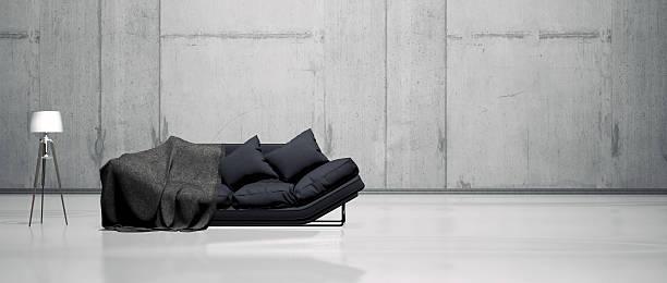 einfache wohnzimmer innenansicht - betonboden wohnzimmer stock-fotos und bilder
