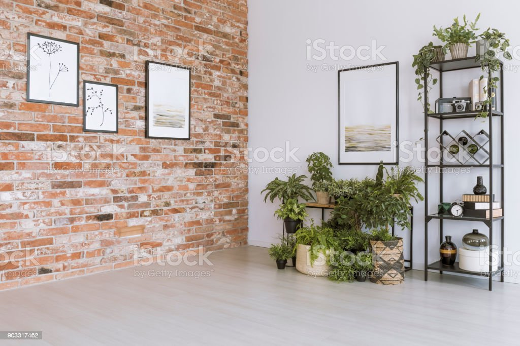 Simple living room with pictures stock photo