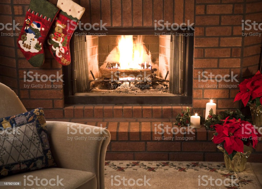 Simple Livingroom Christmas Fireplace Scene Stock Photo