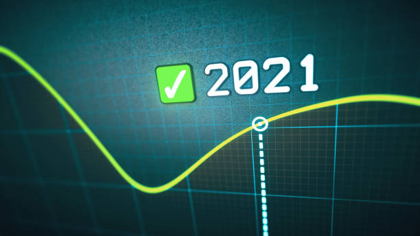 Simple macrophotography line graph design for the year 2021. stock photo