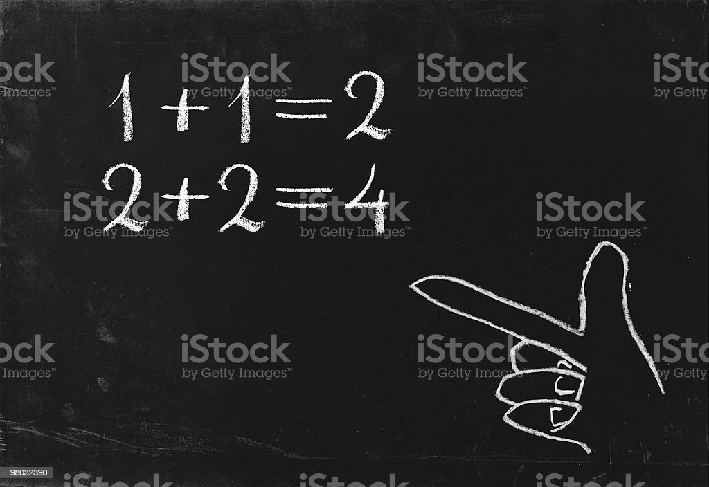 Simple math operation writing chalk on blackboard. royalty-free stock photo