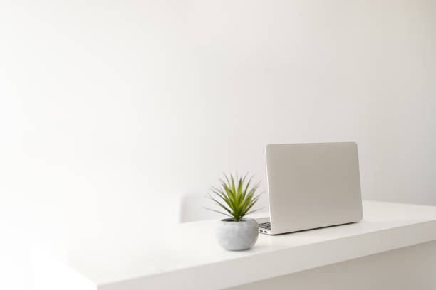 Simple minimalist modern office desk stock photo