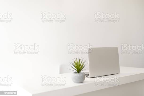 Photo of Simple minimalist modern office desk