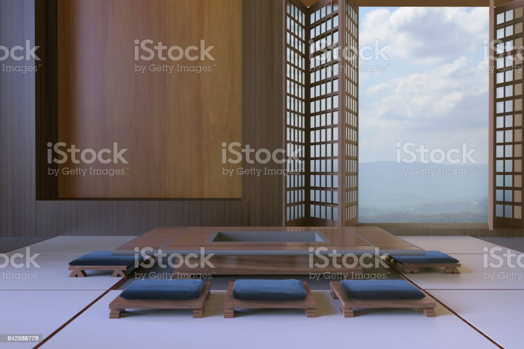 Simple Modern Japanese living room and Tabletop Seats Minimal stock photo
