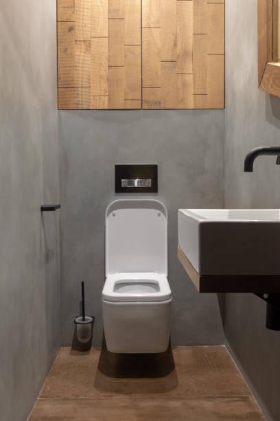 Simple modern light interior design of bathroom stock photo