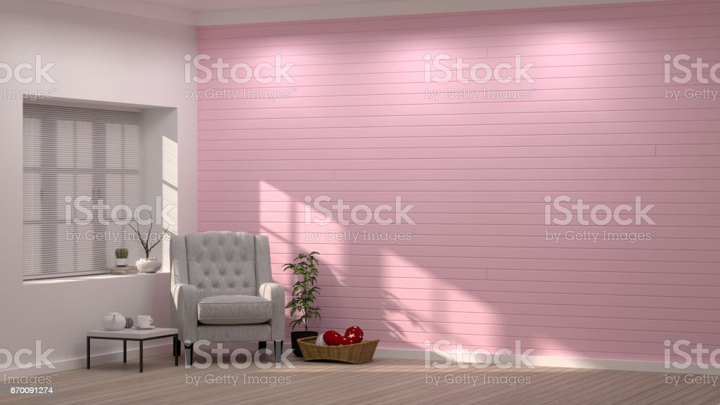 Simple Modern Living Pink Aroom Rmchair In Front Of Pink Wall ...