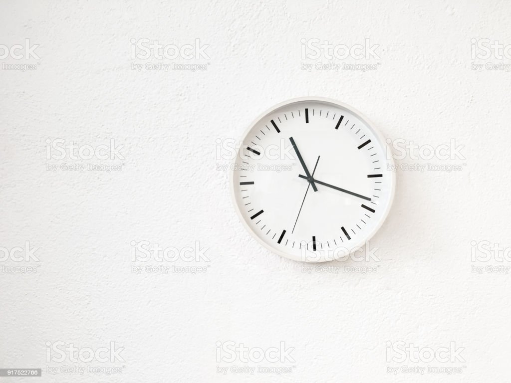 Simple Modern Round Clock On White Wall Stock Photo Download Image Now Istock
