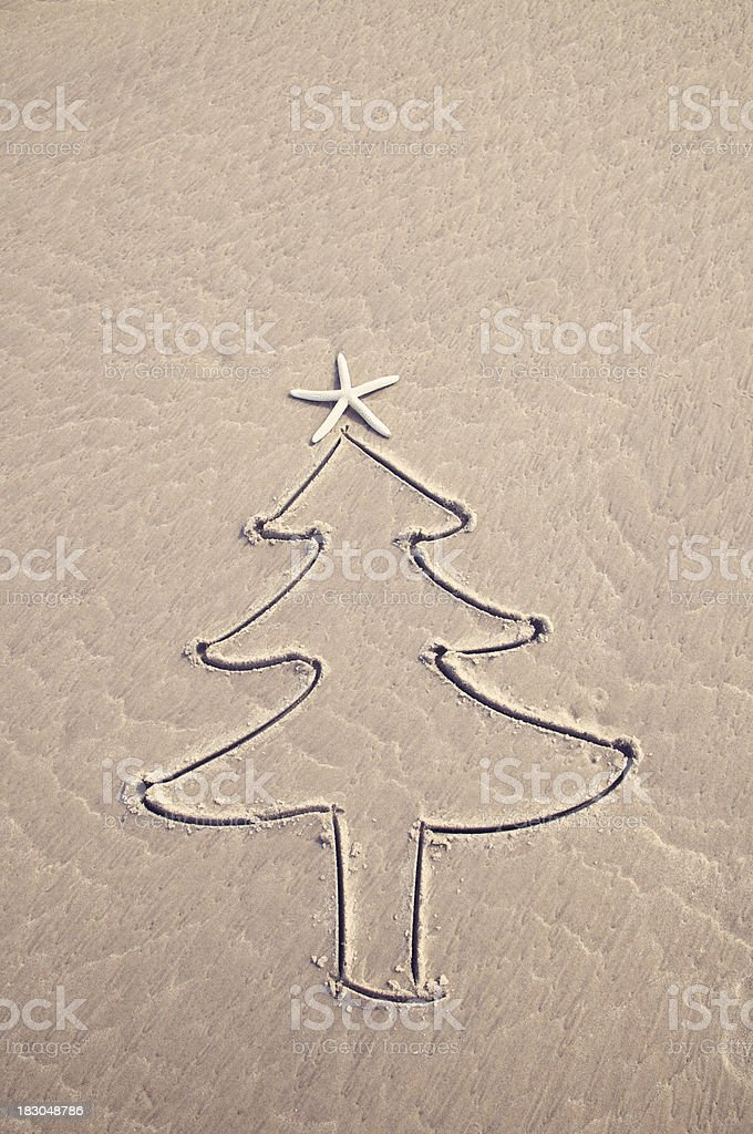 Simple Natural Christmas Tree Drawing In Textured Brown Sand Stock Photo Download Image Now Istock