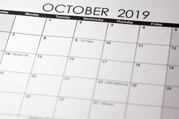einfacher oktober 2019 kalender. die woche beginnt ab sonntag. - heute ist freitag stock-fotos und bilder