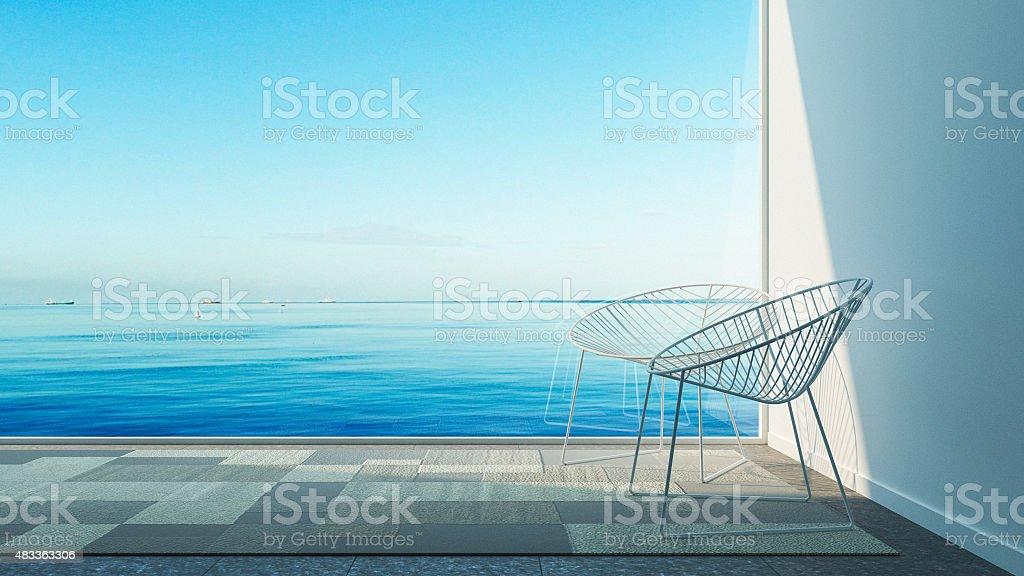 Einfache modernen Wohnzimmer mit Blick auf das Meer – Foto