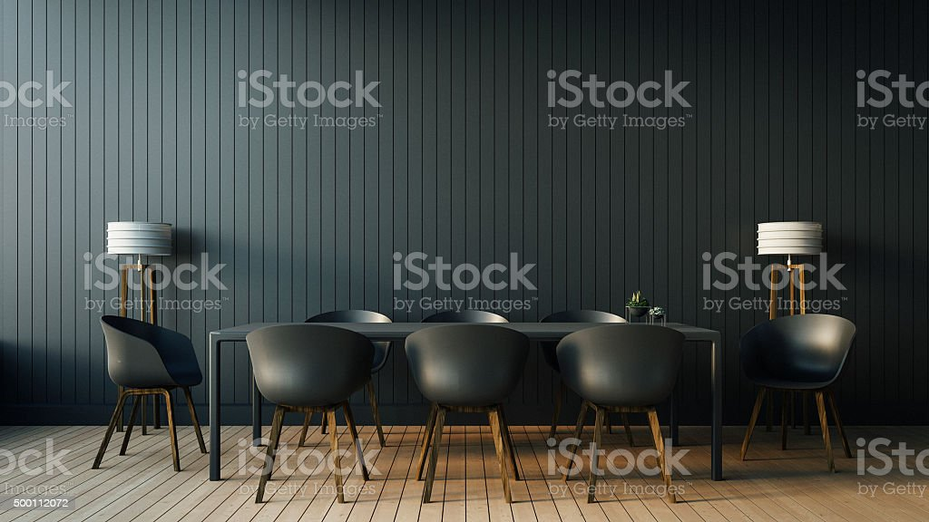 Simple of Working and Dining set Modern stock photo