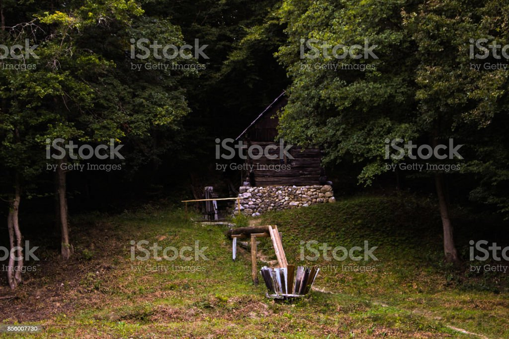 A simple old house in the forest stock photo