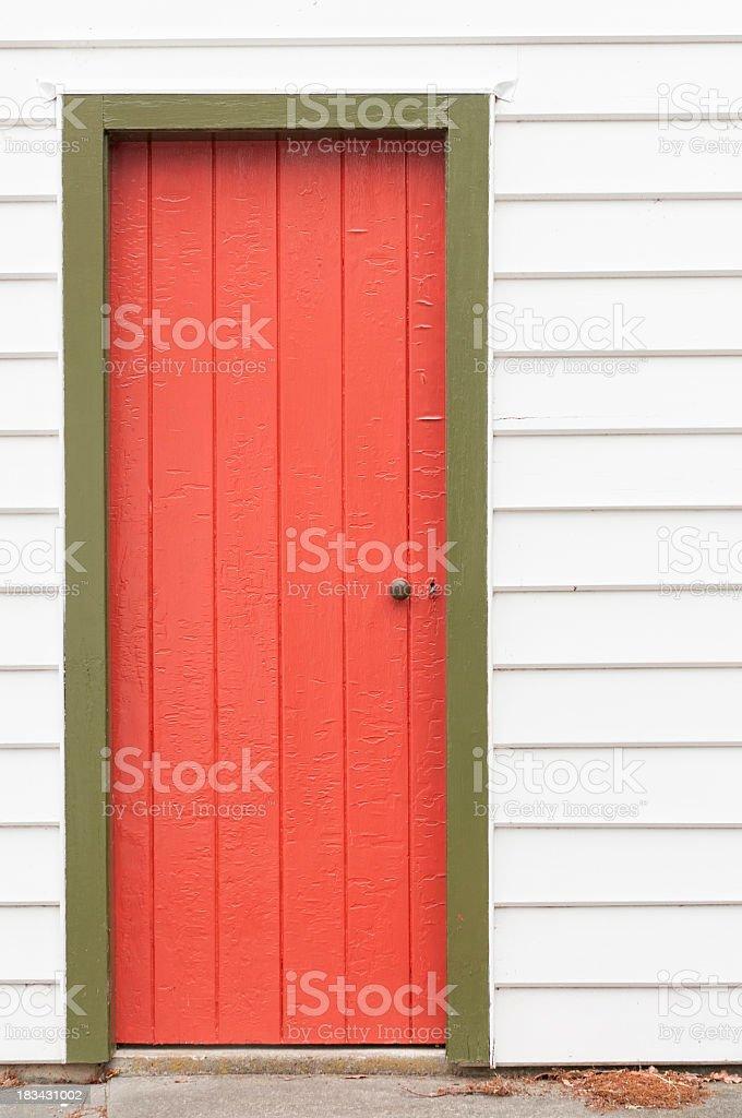 Simple Old Red Wooden Door stock photo