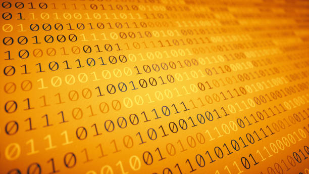 Simple orange binary data stock photo