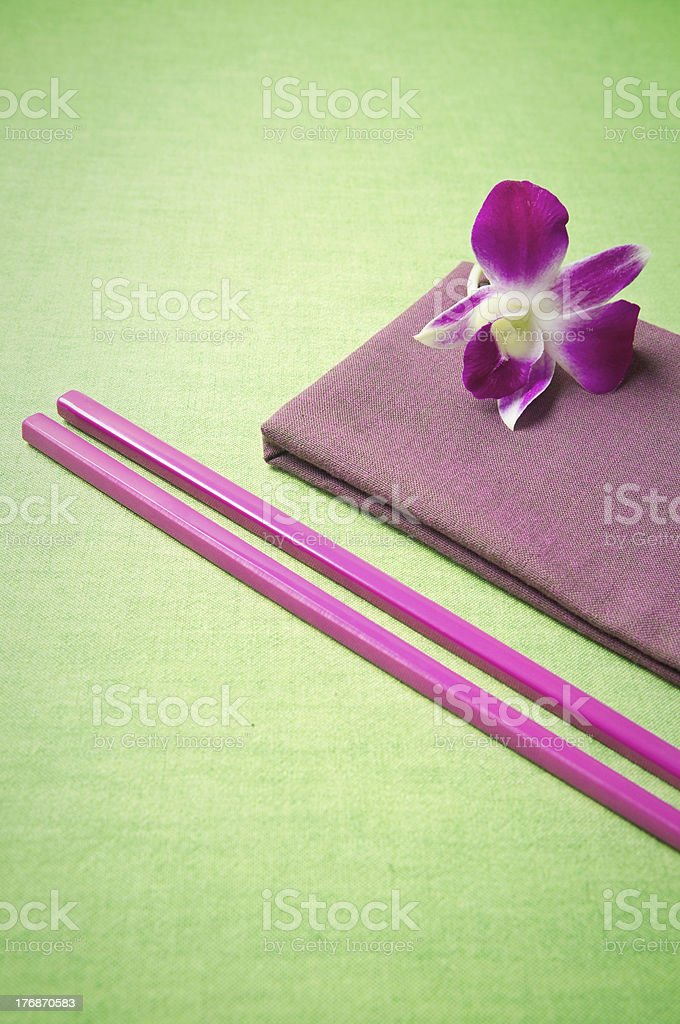 Simple place setting for an oriental meal. royalty-free stock photo