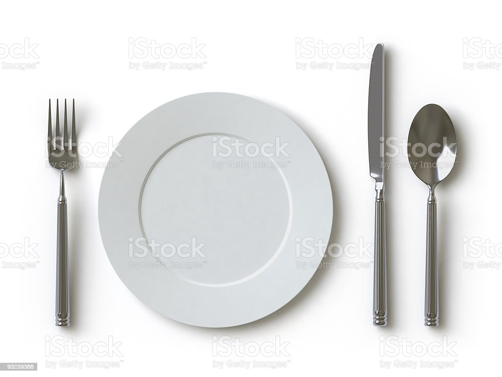 Simple place setting on white background royalty-free stock photo