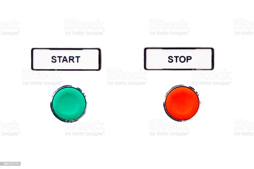 Simple round buttons green start beside red stop button stock photo