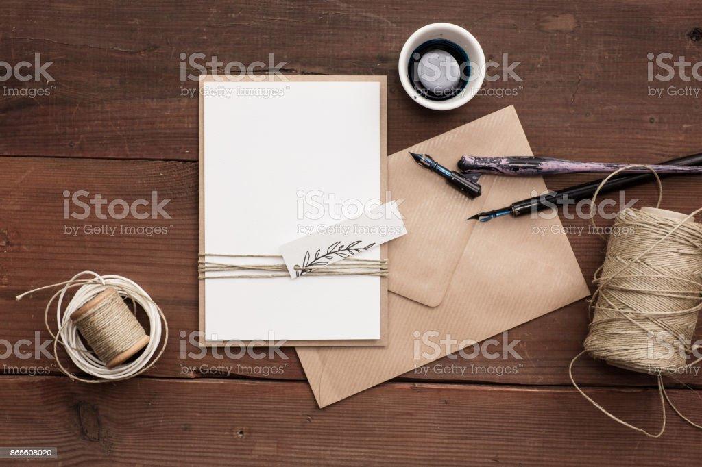 Simple rustic wedding invite, blank. stock photo