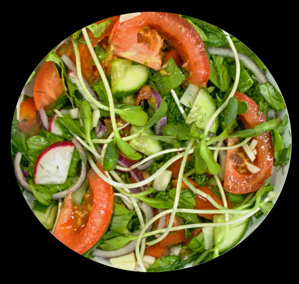 A simple salad of tomatoes, cucumbers, red onions, peppers, radi A simple salad of tomatoes, cucumbers, red onions, peppers, radish, dill, basil, garlic and seasoned with lemon juice, olive oil and balsamic vinegar. advisable stock pictures, royalty-free photos & images