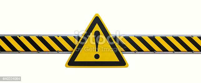 istock Simple Security Barrier With Warning Sign Isolated On White 640224054
