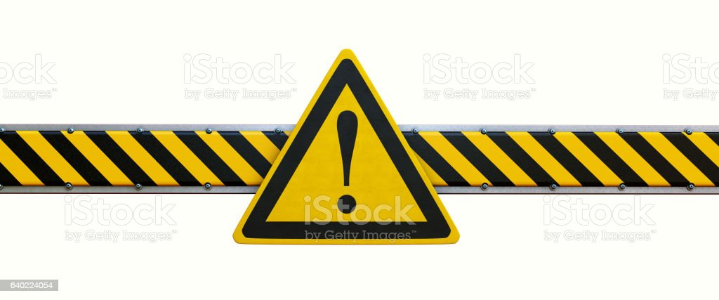 Simple Security Barrier With Warning Sign Isolated On White​​​ foto