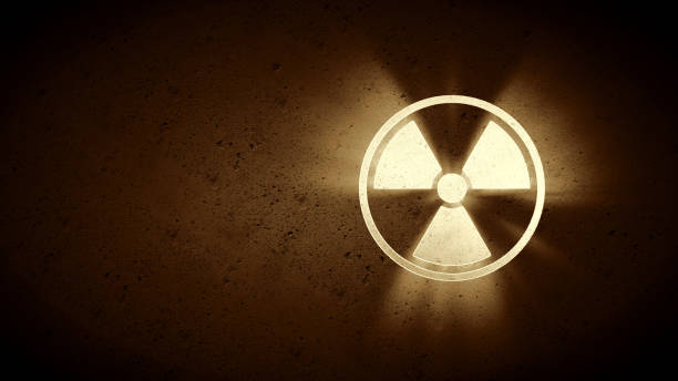 simple sepia radiation warning - nuclear weapon stock photos and pictures