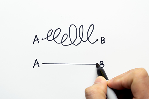 Hand drawing a conceptual diagram about the importance to find the shortest way to go from point A to point B