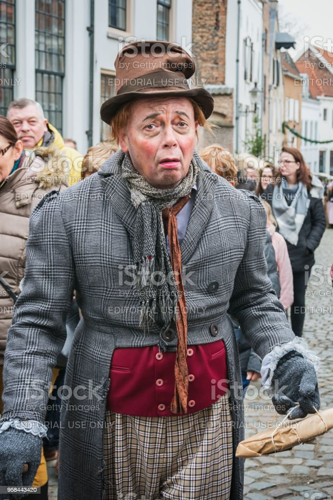simple soul acting during the Dickens Festival in Deventer stock photo