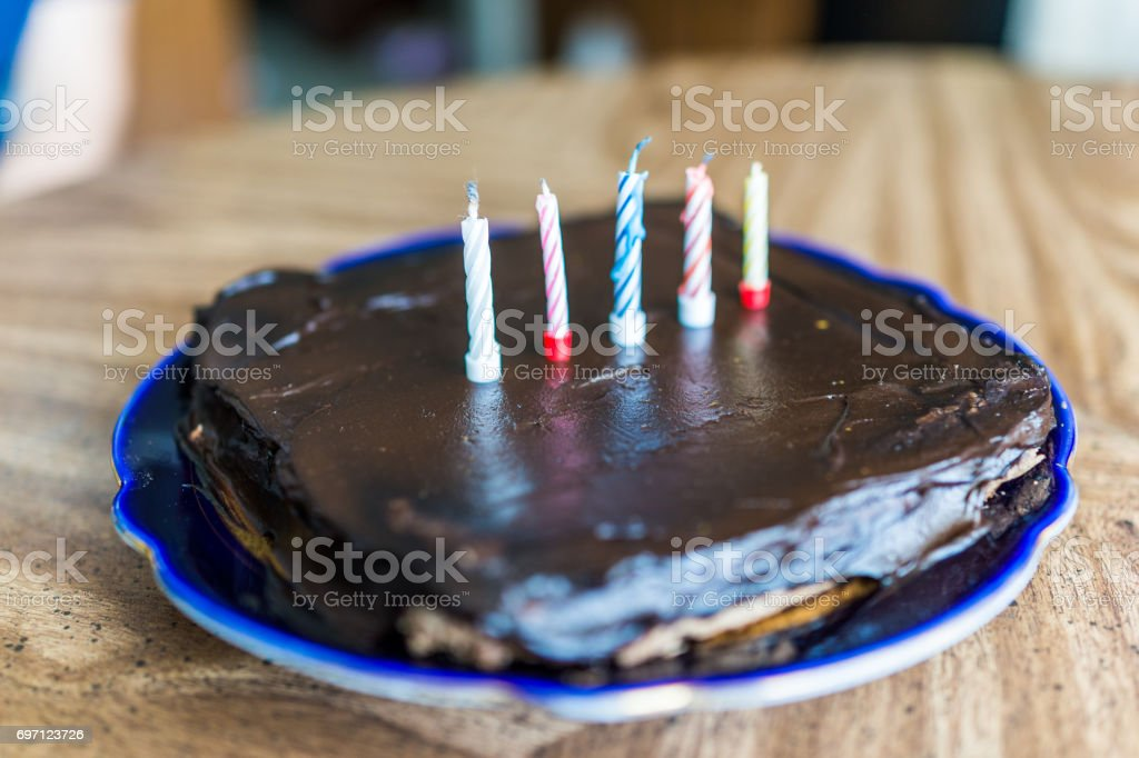 Simple Square Small Chocolate Birthday Cake With Five Colorful