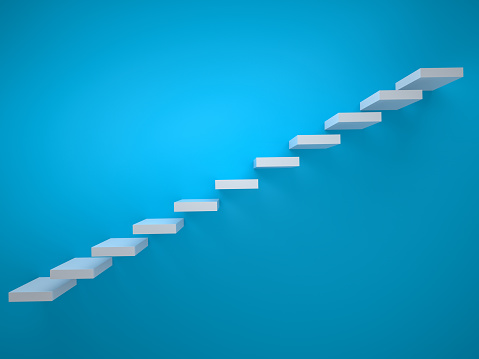 Simple stair icon on blue backgroundSimple stair icon on blue background