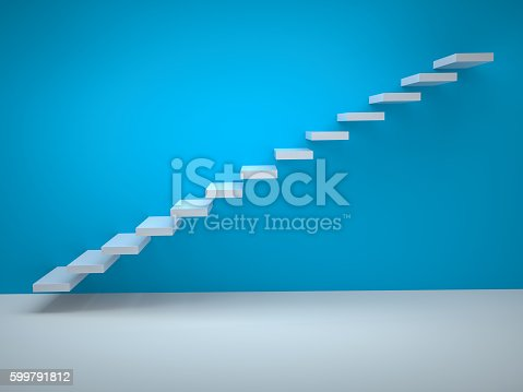 istock Simple stair icon on blue background 599791812