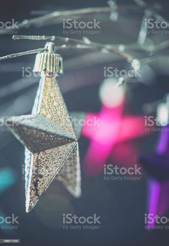 Simple star Christmas decorations hanging on silver branches