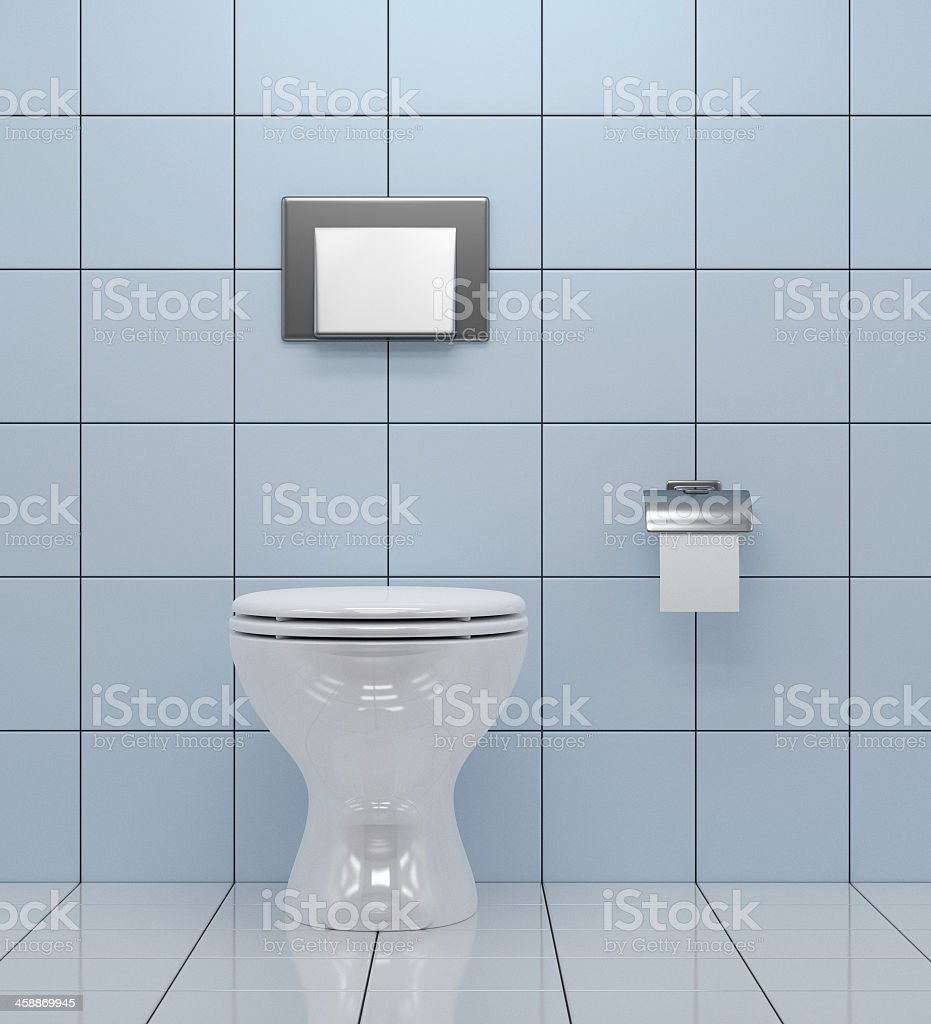 Simple Toilet On A Bathroom Design With Square Tiles Stock Photo ...