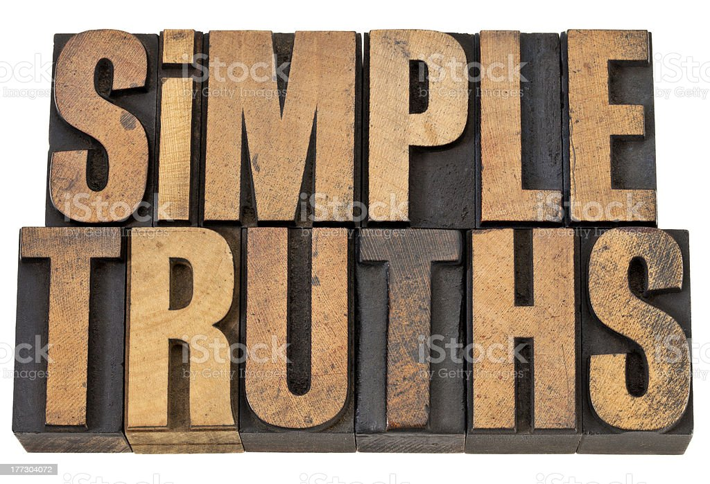 simple truths text in wood type royalty-free stock photo