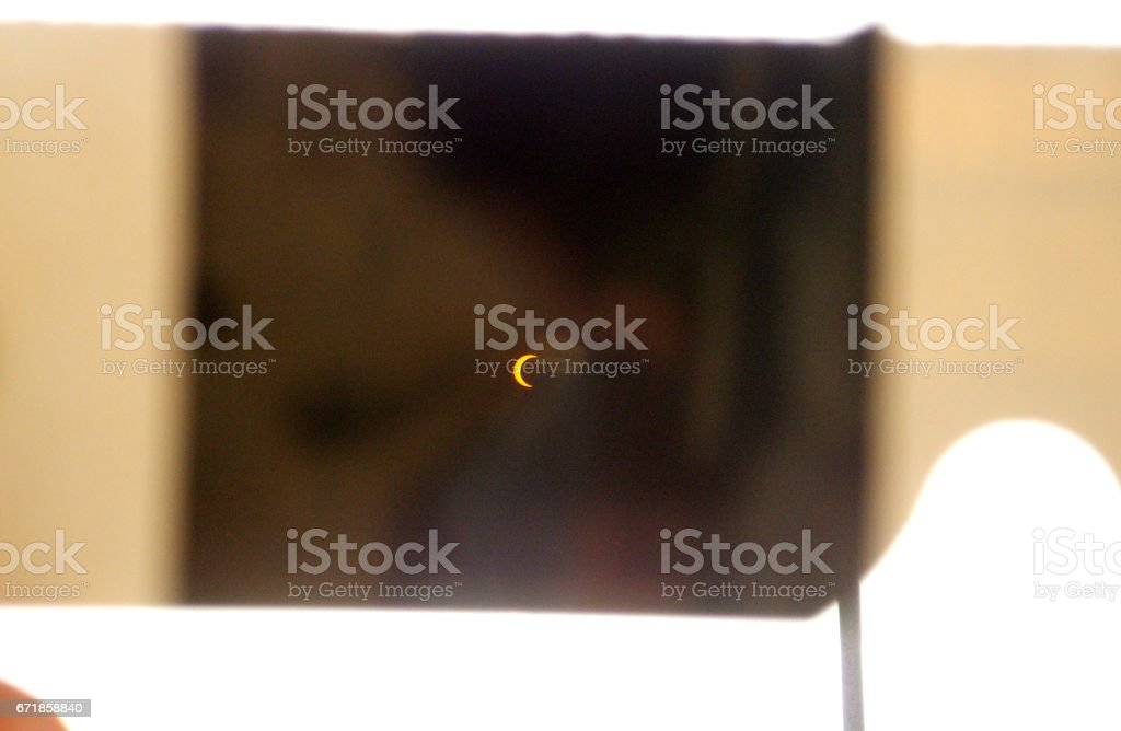 A Simple Way of Viewing a Solar Eclipse stock photo